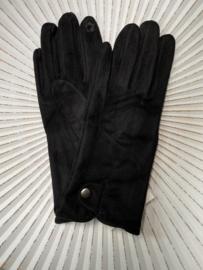 Handschoenen, stretch suedine. Zwart.