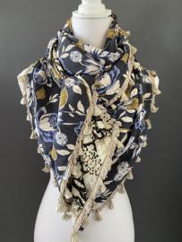 Navy - jeans- mosterd grote  bloemen print  / snakeprint,  couture sjaal.