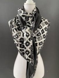 Zwart - Wit fancy wieber  satijn  - mini stip, couture sjaal.