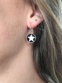 Oorbellen Star. Zilver-Zwart.
