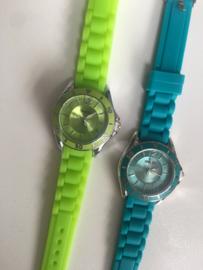 Horloge Ernest, rubber band. kleine kast. Lime (neon) groen