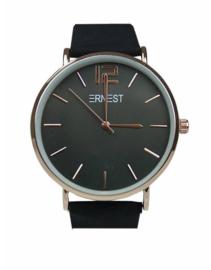 Horloge Ernest,  stijlvol. Suedine achtige band.  Zwart - rosé