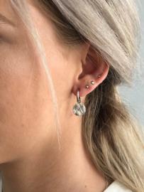 RVS oorbellen (stainless steel), rondje aan ringetje. zilverkleurig