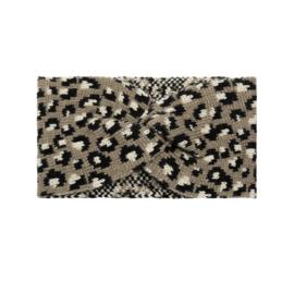 Gebreide haarband, panter / luipaard dessin. Bruin