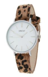 Horloge Hairy Leopard print  band. Medium maat. Bruin  -  zilverkleurig