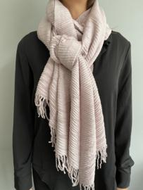 Lange soft sjaal Plissé ribbel. Soft lila/roze