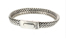 Biba armband, silver plated metaal. Buddha look. Model zeer breed + nieuwe sluiting.