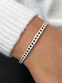 "RVS bangle/armband ""Stippels"" Goud-Wit-Zwart"