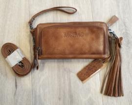 Bag 2 Bag portemonnee, écht leer.  Groot formaat. Bruin.