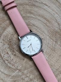 Horloge Ernest,  stijlvol. Roze-Zilver.