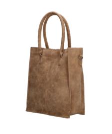 Kartel bag - tas. Hoog model, van ZEBRA. Suedine, gevoerd.  Camel bruin