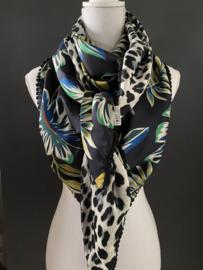 Navy - groen groot bloemen dessin /  grote luipaard print,  Couture sjaal.