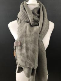 Extra lange soft sjaal Plissé (ribbel) Grijs.
