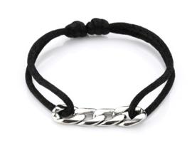 Satijn armbandje met RVS (stainless steel) schakels. Zwart / zilver.