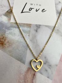 "RVS (stainless steel) kettinkje op kaart ""With Love"". hartbedel mini steentje. Goudkleurig"