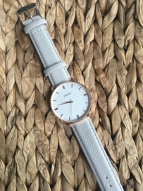 Horloge Ernest,  stijlvol met stiksel op de band. Lichtgrijs  - rosé