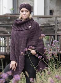 PRE ORDER Poncho Nicky van het mooie merk Knit Factory. Aubergine