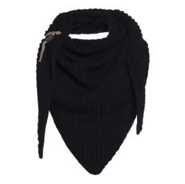 Sjaal/omslagdoek Demy van het mooie merk Knit Factory. Zwart