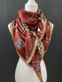 Terra cowboylaarzen- dessin / luipaard print.  Couture sjaal.