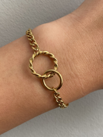 Stainless steel armband, grote en kleine cirkel in elkaar. Goud