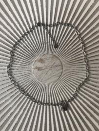"""RVS (stainless steel) ketting. Slotje """"love/stripes"""" Zilverkleurig"""