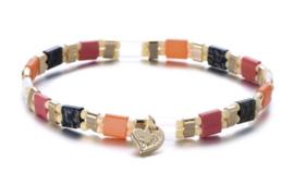 Miyuki (platte) kralen armband, roze-grijs-oranje-goud.
