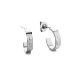 Kleine half open creolen, L O V E.  RVS (stainless steel) Zilverkleurig.