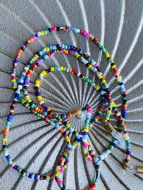 Rvs zonnebril koord, kraaltjes. Multi colour.