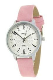 Horloge Ernest, Medium wijzerplaat. Roze - zilver.