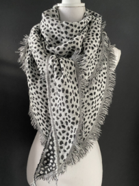 Lichtgewicht cheetah sjaal. 3-hoek vorm. 2 kanten draagbaar. Grijs