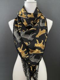 Donker blauwe satijn met panter / tijger dessin - grijze panterprint. Couture sjaal.
