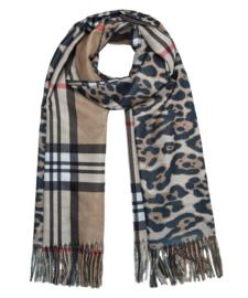 Langwerpige super soft sjaal . Burberry ruit / Luipaard print. Camel/Grijs