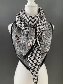 Spier wit / pastel paisley dessin - pied de coq print, couture sjaal.