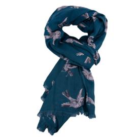 Imbarro, grote zachte dunne  langwerpige sjaal / pareo. Vogel print, Petrol blauw