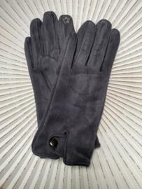 Handschoenen, stretch suedine.  Grijs met blauwige inslag...