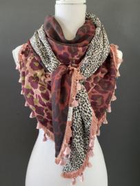 Bordeaux - oudroze panterprint  / mini panter print grijs,  couture sjaal.