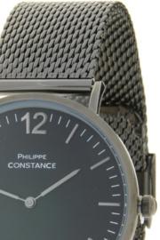 Horloge Philippe Constance,  Donker metaal (gun metal) RVS band! Zwarte plaat.