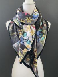 Prachtig satijnen bloemen-riempjes dessin / mini stip zwart, couture sjaal.