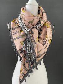 Roze-grijs-okergeel classic dessin / grijs panter dessin, couture sjaal.