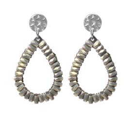 Biba oorbellen. Druppelvorm + kraaltjes. Zilver - grijs-groen.