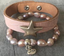 Armband, Echte zoetwater parels, roze.