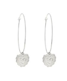 RVS (stainless steel) oorbellen. Grote creolen met hart hanger. Zilverkleurig
