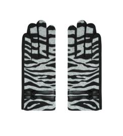 Handschoenen, Zebra dessin. Grijs-Zwart