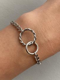 Stainless steel armband, grote en kleine cirkel in elkaar. Zilver.