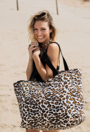 Mycha Ibiza, Méga, super grote strandtas + minitasje.  Naturel - bruin - zwart, luipaard print.