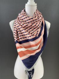 Grafisch dessin met rand Peach  / navy - wit dessin,  couture sjaal.