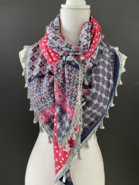 Navy - fuchsia rand dessin  / fuchsia stippen . Couture sjaal.