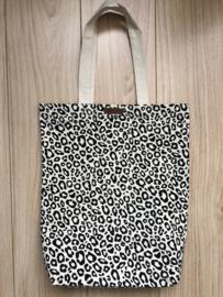 Super leuke katoenen Shopper.  Ecru + luipaard / panter print.