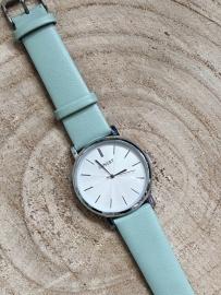 Horloge Ernest,  stijlvol. Zacht groen-Zilver.