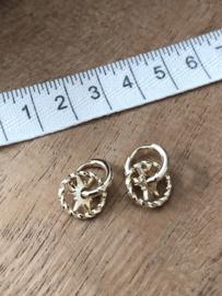 RVS oorbellen (stainless steel), ringetjes met ster eraan. Goudkleurig